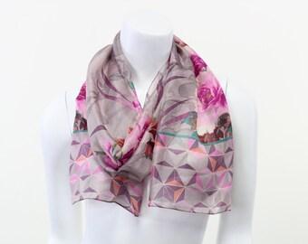 pure silk scarf- silk scarf-narrow scarf- radiant orchid- peony- lavender whisper soft narrow silk print scarf
