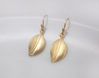 Gold leaf earrings, leaf dangle earrings, gold filled earrings