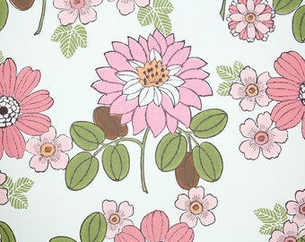 Retro Wallpaper by the Yard 70s Vintage Wallpaper – 1970 Pink Mums and Daisies with Green Leaves on White