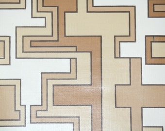 Vintage Wallpaper by the Yard 70s Retro Wallpaper - 1970s Brown Tan and White Geometric
