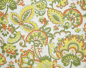 Retro Wallpaper by the Yard 70s Vintage Wallpaper - Green Yellow and Orange Paisley Floral on White