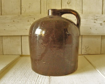 Antique little brown jug beehive stoneware glazed moonshine whiskey