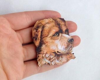 Dog Brooch  - Dog Lover Birthday Gift -  Wooden Brooch pin Dog Face