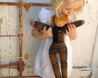 rag wool redhead autumn winter gift equestrian vintage pendleton Mountain Girl primitive Prairie Rustic Shabby gypsy boho ooak Handmade Doll