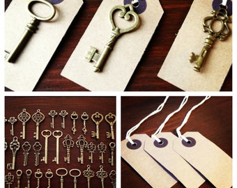 Keys to Happiness - 100 Antique Bronze Skeleton Keys & 100 Kraft Luggage Tags - Wedding Skeleton Keys, Escort Card Vintage Keys