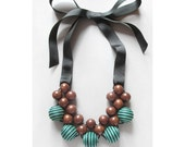 Wooden Statement Necklace / Bayong Wood Blue, Green and Black and Grosgrain Ribbon / Exotic Wood and Fabric Bead Necklace