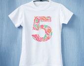 Floral Numbers Birthday Tee - 4 Year Old Birthday Tee - 2nd Birthday Shirt - Girls Birthday Shirt