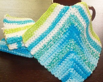 Dishcloths Set - Set of 3  Hand Crocheted Dishcloths in Shades of Turquoise, Lime, and White