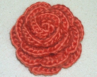 Rose Brooch - Beautiful Crochet Rose Pin in Burnt Orange - Rust