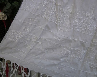 Bohemian Hand-Embroidered Fringed White Long Cotton Skirt, Vintage - Large