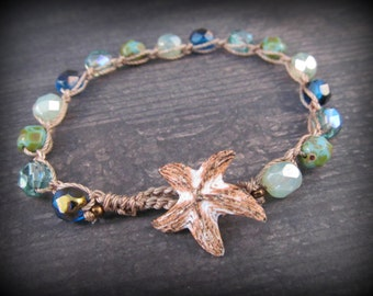 Beach Crochet Bracelet, Sea Gypsy, Ocean Colors, with rustic Starfish