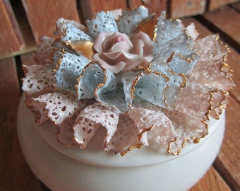 Jewelry Box - Trinket Box - Porcelain Box - Porcelain Lace Trinket Dish - Heirlooms of Tomorrow - Mid Century - Collectible