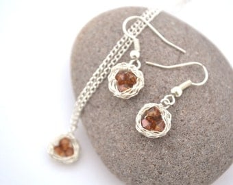 Orange Crystal Bird's Nest Necklace and Earring Set, READY TO SHIP