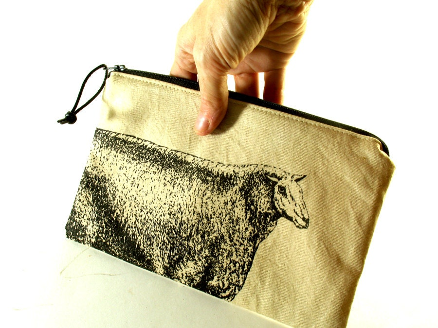 Zippered Knitting Bag : Sheep print zipper bag canvas knitting needle tool in