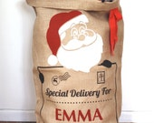 SALE * SALE * SALE * Santa Claus Santa Sack, Christmas Stocking, Hessian Sack, Xmas Gift, Present Bag