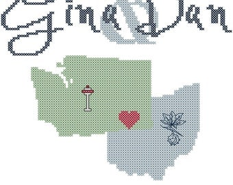 Modern Wedding Cross Stitch Pattern/Biking Cross Stitch Pattern/Camping Cross Stitch Pattern/Wedding Cross Stitch Pattern/Cross Stitch State
