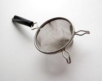 Metal Strainer Small Mesh Handheld Sieve Vintage EKCO Stainless Steel Kitchen Utensil w/  Black Handle USA