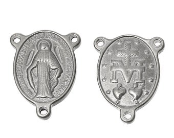 5 Silver Stainless Steel ROSARY CENTERPIECE Virgin MARY, Oval Tripiece, Charm Pendants, connector link chs2023