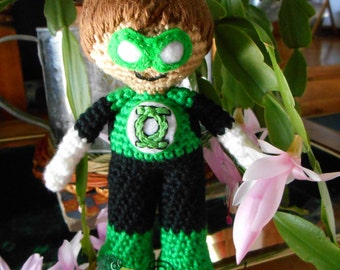 Green Lantern Inspired Super Hero Amigurumi - MADE to order-