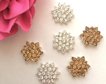 "6 rhinestone gold or silver button Crystal star flower centers buttons flat back 18mm 1/2"" size jewel embellishment accent metal component"