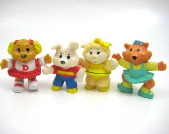 Vintage 1984 Get Along Gang PVC Figures - Dottie / Dotty, Woolma Lamb, Flora Fox, Rocco Rabbit - Tomy Lot of 4