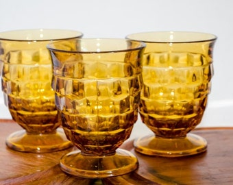 Set of 3 Small Amber Glass Tumblers, vintage water / tea glassware