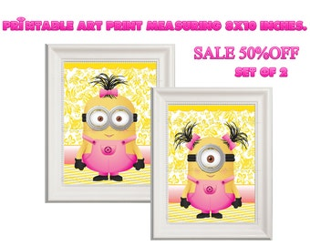 SALE!! 50% OFF Minions Girl Wall Decor  Set of Two Instant Download PRINTABLE art print measuring 8x10 inches.
