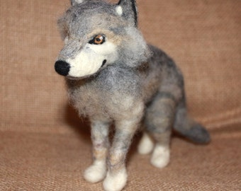 Needle Felted Grey Wolf Sculpture Art Unique OOAK