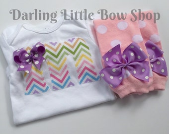 Baby Girl Outfit -- Leg warmers and Initial Bodysuit -- Pretty Pastel Chevron initial with pink polka dot leg warmers