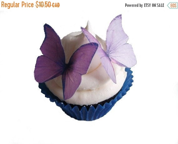 Cake Topper Sale Cupcakes SPRING Cake Ideas  - Edible Butterflies in 24 Purple and Lavender - Wedding Cupcake, Cupcake Supplies, Cupcake Sho