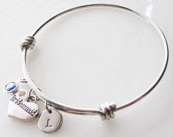 personalized bridesmaid gift, bridesmaid jewelry, personalized bracelet, initial bracelet, birthstone, silver bangle, gift for bridesmaid