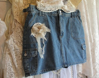 Jean skirt with lace,shabby gypsy cowgirl