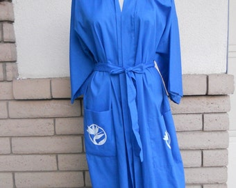 Hawaiian Robe Kimono Blue Cotton Bird of Paradise Coverup Made in Hawaii One Size