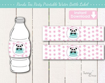 Panda Tea Party/ Panda Party/ Cherry Blossoms (instant download) printable drink wrappers/ water bottle labels
