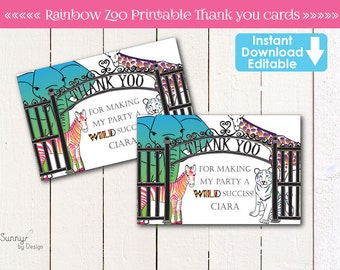 Zoo Party / Safari Party Editable (Instant Download) Thank you cards