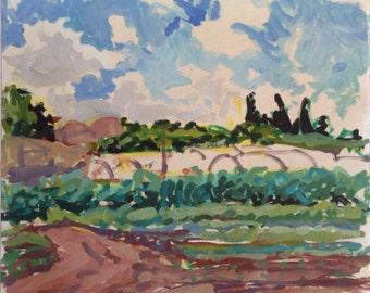 Fields of June, original plein air landscape painting, handmade egg tempera on heavyweight paper, 47x50.5 cm, 18.5x19.9 inch, Shirley Kanyon