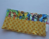 JUMBO TODDLER  Crayon Roll, Crayon Holder, Bernstein Bears with Yellow Polka Dot Pocket, Holds 8 Jumbo Toddler Crayons, Ready to Ship