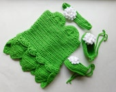 Tinker Bell Inspired Dress, Headband and Shoes Baby Girl Crochet Set Photography Prop sizes 0-3, 3-6, 6-9, 9-12, 2-5 years