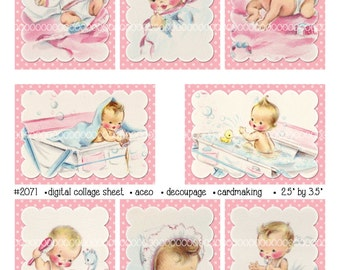 Digital Clipart, instant download, vintage baby card images, new baby, bath, playing, decoupage aceo--8.5 by 11--Digital Collage Sheet 2071