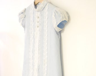 Vintage Baby Clothes, 1960's Saks Fifth Avenue Ice Blue and White Chiffon and Lace Baby Girl Dress, Vintage Blue Baby Dress, Size 3T - 4T