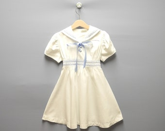 Vintage Girls Clothes, 1920's Rare White and Blue Girl's Sailor Dress, Girl's White Sailor Dress, Vintage White Girl's Dress, Size 5T