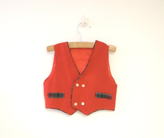 Vintage Baby Clothes, 1960's Handmade Red Baby Boy Vest, Vintage Red Baby Vest, Baby Christmas Vest, Baby Holiday Vest, Size 2T