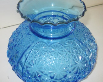 Large Vintage Blue Daisy & Button w/Thumbprint Glass Hurricane Table Oil Lamp Shade,charming,Shabby Chic,tabletop,cottage glass