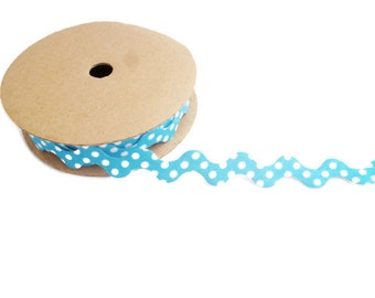 Blue ric rac ribbon trim polka dot fabric zig zag wavy craft ribbon by the yard spotty ric rac blue ribbon