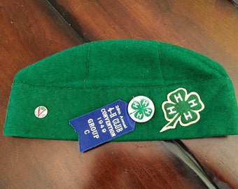 Vintage Green 4-H Club Cap 1949 29th Annual Convention California - Size Large