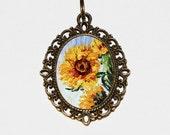 Monet Sunflower Necklace, Sunflowers, Claude Monet, Sunflower Jewelry, Oval Pendant