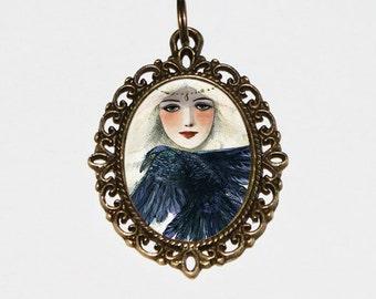 Goddess Necklace, Crow, Raven Jewelry, Witchcraft, Bird, Whimsical, Mythology, Princess, Bronze Oval Pendant