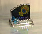 Business Card Holder - Peacock Feathers - Special Order - Creative - Exotic - Feather Desk - Peacock Design- Made To Order - Desk Art