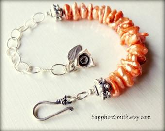 FLAMBEAU Bracelet, Persimmon Orange Keshi Pearl, Bali Artisan & Karen Hill Tribe Fine Silver Bracelet