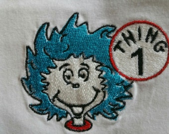 Embroidered Dr. Seuss' Thing 1 or Thing 2 Tee Shirt from size 2T to Adult 3X  perfect for Read Across America &celebrate Dr. Seuss' Birthday